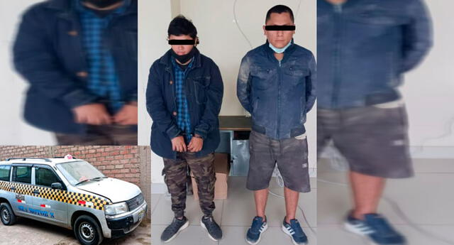 Los detenidos y el vehículo robado