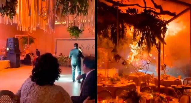 El incendio dejó pérdidas materiales debido a que la estructura de las luces se cayó, derribando mesas y sillas.