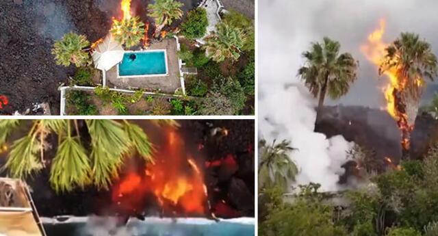 Mira el insólito momento que lava del volcán Cumbre Vieja destruye piscina en la isla La Palma.