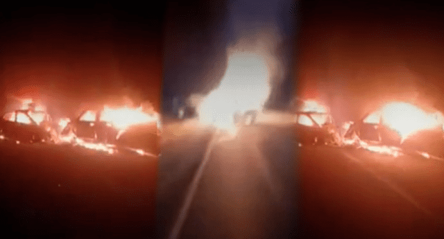 Dos autos se incendiaron en plena autopista tras chocarse entre sí.