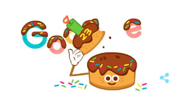 Google festejó su 23 aniversario con un doodle tipo un cumpleaños.