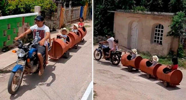 El ingenioso papá hizo uso de su motocicleta, unas llantas, y tres barriles de metal, a las que unió con vigas.