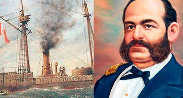 Miguel Grau muere en el Combate de Angamos tras el enfrentarse a los buques chilenos.