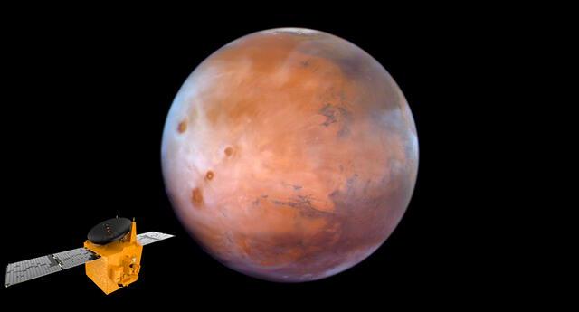 Imagen de Marte recientemente captada por la sonda Hope.