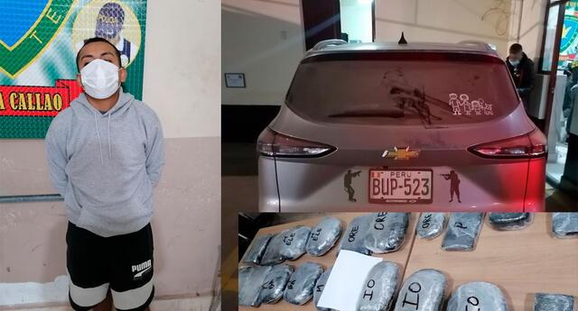 El detenido, el vehículo y la droga que transportaba