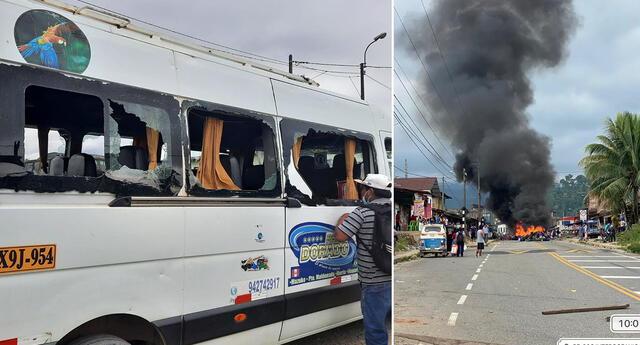 Apedrean vehículos y queman equipaje en Puno