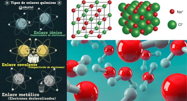 Los átomos de la materia interactúan con otros mediante enlaces químicos.